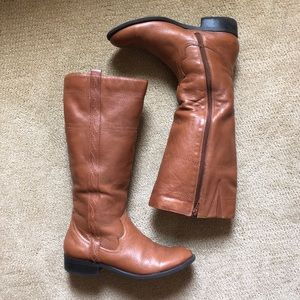 Cognac leather zip up riding boots